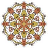 Kleurenmandala Oostelijk symmetrisch cirkelpatroon Stock Foto's