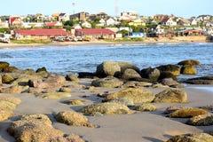 Kleurenoceaan, strand en zonsondergang Royalty-vrije Stock Fotografie