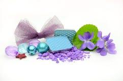 Kleurenoogschaduw en bloemen Stock Foto's