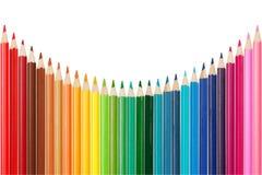 Kleurenpalet van kleurrijke potloden wordt gemaakt dat royalty-vrije stock afbeeldingen