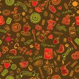 Kleurenpatroon met koffie Stock Afbeeldingen
