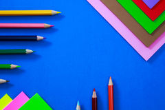 Kleurenpennen in diverse kleuren Stock Afbeelding
