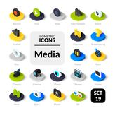 Kleurenpictogrammen die in vlakke isometrische illustratiestijl worden geplaatst, vectorinzameling Royalty-vrije Stock Afbeelding