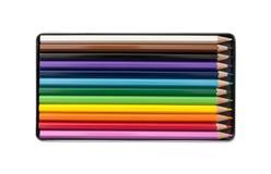Kleurenpotloden in de doos Stock Afbeelding