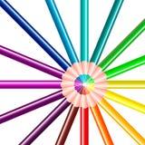Kleurenpotloden in de vorm van een cirkel royalty-vrije illustratie