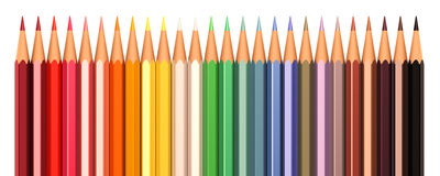 Kleurenpotloden in lijn Royalty-vrije Stock Fotografie