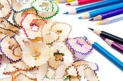 Kleurenpotloden met hout Royalty-vrije Stock Afbeeldingen