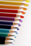 Kleurenpotloden met punt Royalty-vrije Stock Foto