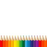 Kleurenpotloden op witte achtergrond Royalty-vrije Stock Afbeeldingen