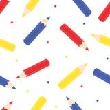 Kleurenpotloden: Rood, Blauw en Geel Stock Foto's