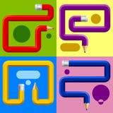 Kleurenpotloden in verschillende vormen met plaatsen voor tekst worden gebogen die Stock Fotografie