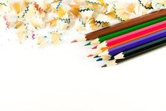 Kleurenpotlood op document achtergrond Royalty-vrije Stock Afbeeldingen