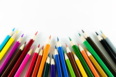 Kleurenpotlood op document achtergrond Royalty-vrije Stock Fotografie