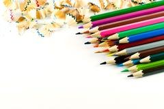 Kleurenpotlood op document achtergrond Royalty-vrije Stock Foto