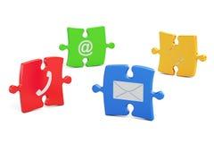 Kleurenraadsel met contact ons symbolen, het 3D teruggeven Royalty-vrije Stock Foto's