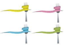 Kleurenreeks van vork en het meten van band voor gezond Royalty-vrije Stock Afbeelding