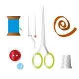 Kleurenreeks voorwerpen voor het naaien, ambacht Naaiende hulpmiddelen en naaiende uitrusting, naaiend materiaal, naald, naaiende Stock Foto's