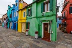 Kleurenschema van Burano-huizen Stock Foto's