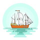 Kleurenschip met rode zeilen in het overzees Zeilboot op golven voor reis, toerisme, reisbureau, hotels, vakantiekaart, banner stock illustratie