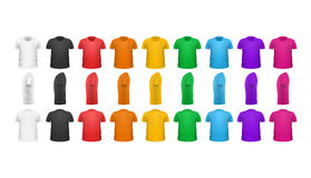 Kleurent-shirts Front View Vector Set Isolated Royalty-vrije Stock Afbeeldingen