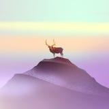 Kleurentekening van een hert op de berg Royalty-vrije Stock Foto's