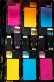Kleurentoner patronen gebruikte laserdruk stock foto
