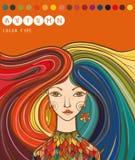 Kleurentype van meisje - de herfst Autumn Girl Kleuren voor herfsttype Royalty-vrije Stock Afbeelding
