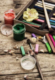 Kleurenverven, kleurpotlood Royalty-vrije Stock Foto