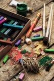 Kleurenverven, kleurpotlood Royalty-vrije Stock Fotografie