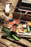 Kleurenverven, kleurpotlood Royalty-vrije Stock Afbeelding