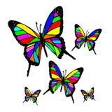 Kleurenvlinder op witte achtergrond stock illustratie