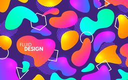 Kleurenvormen Plastic en geometrische elementen Kleurrijke gradiënten op koele achtergrond Modern vectorontwerpmalplaatje Vloeiba stock afbeelding
