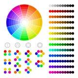 Kleurenwiel met schaduw van kleuren, kleurenharmonie Stock Foto's