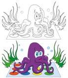 Kleuring, beeldverhaaloctopus Stock Foto