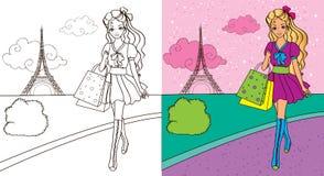 Kleuringsboek van Meisje het Winkelen Stock Afbeelding
