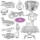 Kleurloze reeks met muzikale instrumenten Royalty-vrije Stock Foto