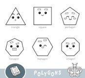 Kleurloze reeks veelhoeken Visueel woordenboek over geometrische vormen vector illustratie