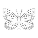 Kleurloze vlinder vectordieillustratie op witte backgr wordt geïsoleerd Royalty-vrije Stock Afbeelding