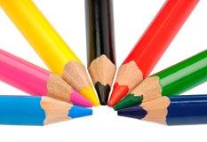 Kleurpotloden in basiskleuren CMYK en RGB Stock Afbeeldingen