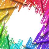 Kleurpotloden die achtergrond trekken Stock Afbeeldingen