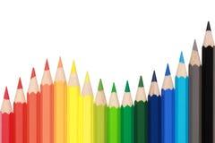 Kleurpotloden die een golf vormen Stock Afbeelding