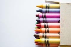 Kleurpotloden in doos Royalty-vrije Stock Foto's