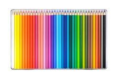 Kleurpotloden in een doos Royalty-vrije Stock Foto's