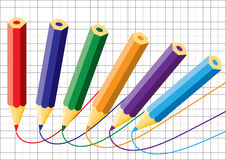 Kleurpotloden en notitieboekje. Vector. Royalty-vrije Stock Afbeelding