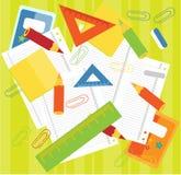 Kleurpotloden, heersers, documenten Stock Foto's