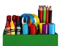 Kleurpotloden, kleurpotloden en pennen Royalty-vrije Stock Afbeelding
