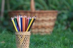 Kleurpotloden met een mand kennis op het gras royalty-vrije stock foto's