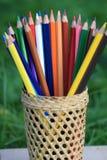 Kleurpotloden met een mand kennis op het gras stock afbeelding