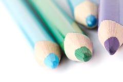 Kleurpotloden met kleur Stock Foto