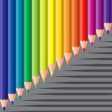 Kleurpotloden met schaduw Royalty-vrije Stock Foto